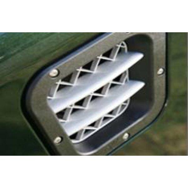 KBX Turbo-inlaat zijdeglans zwart met zilver raster en ribben 300Tdi Td5 en Td4