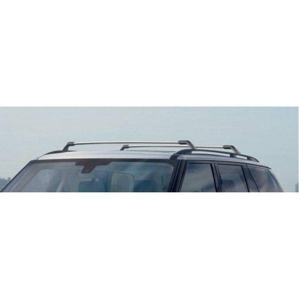 Zilverkleurige roofrails en afwerkprofielen voor glazen panoramadak